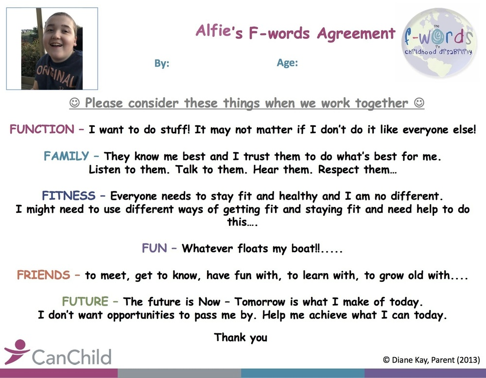 Alfie's f words agreement copy